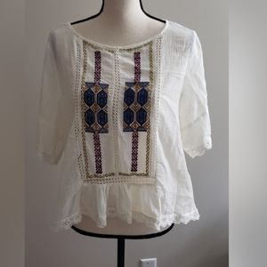 Umgee White Embroidered Boho Hippie Short Sleeve L